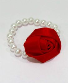 Aayera'S Nest Pearl Wristband With Satin Rose - White & Red