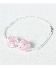 Aayera'S Nest Pearl Necklace With Satin Rose - White & Pink