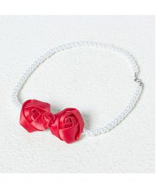 Aayera'S Nest Pearl Necklace With Satin Rose - White & Red