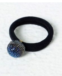 Aayera'S Nest Bling Blue Ball Rubberband - Black & Blue