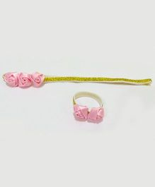 Aayera'S Nest Baby Soft Band With Matching Wristabnd - Pink & Golden