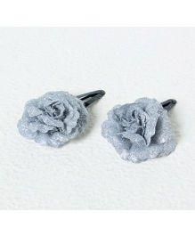 Aayera'S Nest Glitter Flower Clips - Silver