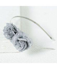 Aayera'S Nest Glitter Flower Hairband - Silver