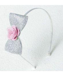 Aayera'S Nest Silver Glitter Bow Hairband - Silver & Pink