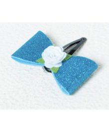 Aayera'S Nest Frozen Glitter Bow Clip - White & Blue