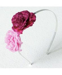 Aayera'S Nest Glitter Flower Hairband - Pink & Red