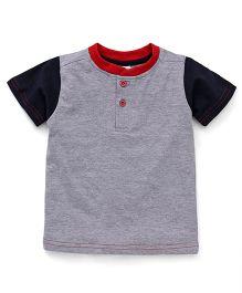 Babyhug Raglan Sleeves T-Shirt - Light Grey Navy Blue