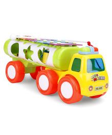 Tanker Shape Musical Pull Along Toy - Yellow & Green