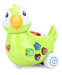 Musical Parrot Toy With Wheels - Green