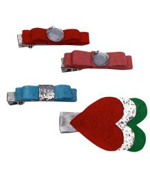 D'Chica Heart & Bow Design A Set Of 4 Hair Clips - Multicolour