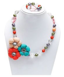 D'Chica Flower Applique Beaded Jewelry Set - Multicolour