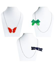 D'Chica Set Of 3 Butterflies And Bows Design Chain Jewelry - Multicolour