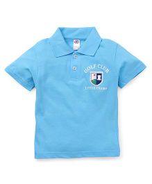 Zero Half Sleeves T-Shirt Golf Club Print -  Aqua Blue