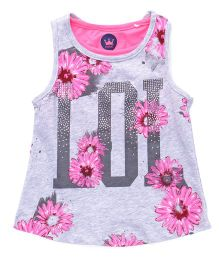Vitamins Sleeveless Party Wear Top Floral Print Embellished - Grey