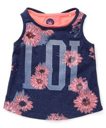 Vitamins Sleeveless Party Wear Top Floral Print Embellished - Navy Peach