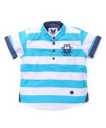 Vitamins Half Sleeves Shirt Striped - White Aqua Blue