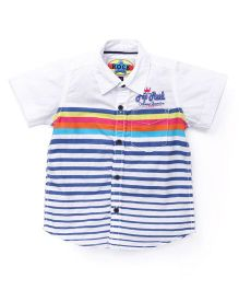 Vitamins Half Sleeves Shirt Stripes and Embroidered - White Blue