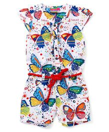 Vitamins Cap Sleeves Jumpsuit Butterfly Printed - White Blue