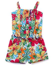 Vitamins Singlet Jumpsuit Floral Print - Dark Pink Multi Color