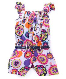 Vitamins Flutter Sleeves Jumpsuit Floral Print - White Dark Pink