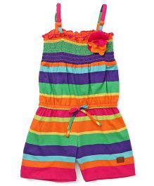 Vitamins Singlet Striped Jumpsuit With Floral Motif - Dark Pink Multi Color