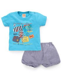 Little Kangaroos Half Sleeves T-Shirt With Patch And Shorts Set - Aqua Blue