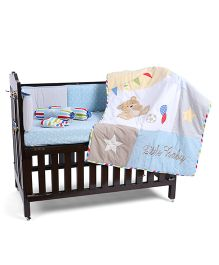 Babyoye Crib Bedding Set 6 Pieces Teddy Love Theme - Blue