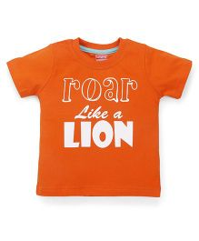 Babyhug Half Sleeves T-Shirt Caption Print - Orange