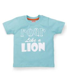 Babyhug Half Sleeves T-Shirt Caption Print - Mint