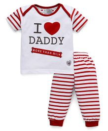 Mini Taurus Half Sleeves T-Shirt And Stripe Bottoms Daddy Print - Red White