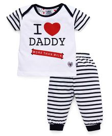 Mini Taurus Half Sleeves T-Shirt And Stripe Bottoms Daddy Print - Dark Navy White