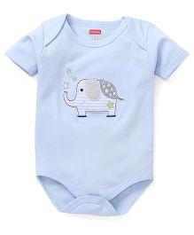 Babyhug Half Sleeves Onesie Elephant Patch - Light Blue