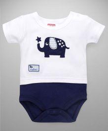 Babyhug Half Sleeves Oneises With Elephant Patch - White & Navy
