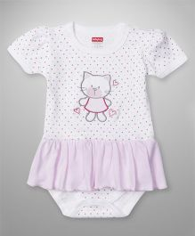 Babyhug Short Sleeves Onesie With Kitty Embroidery - White