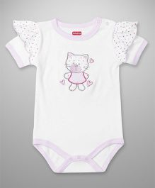 Babyhug Half Sleeves Onesie Kitty Embroidery - White
