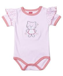 Babyhug Half Sleeves Onesie Kitty Embroidery - Pink