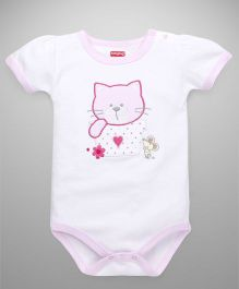Babyug Half Sleeves Kitty And Mouse Embroidered Onesie - White