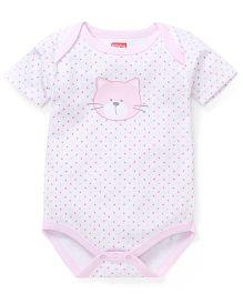 Babyhug Half Sleeves Onesie Kitty Print - Pink White