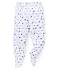 Babyhug Bootie Leggings Elephant Print - White Blue