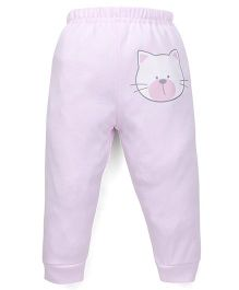 Babyhug Full Length Solid Color Leggings With Kitty Face Print - Pink
