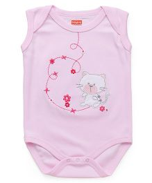 Babyhug Sleeveless Onesies Kitty & Floral Embroidery - Pink