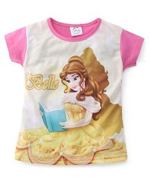 Eteenz Half Sleeves Top Belle Print - Pink