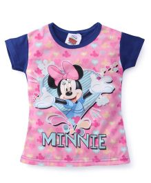 Eteenz Short Sleeves Top Minnie Mouse Print - Royal Blue Pink