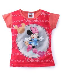 Eteenz Short Sleeves Top Minnie Mouse Print - Peach Pink