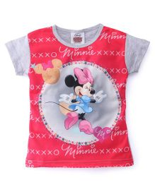Eteenz Short Sleeves Top Minnie Mouse Print - Grey Pink