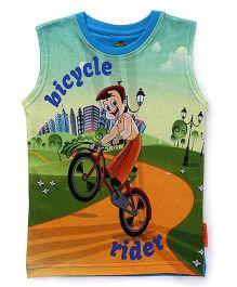 Chhota Bheem Sleeveless T-Shirt Bicycle Rider - Multicolor