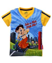 Chhota Bheem Half Sleeves Tee Quote Printed - Multi Color