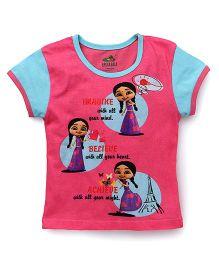 Chhota Bheem Half Sleeves T-Shirt Chutki Print - Pink & Blue
