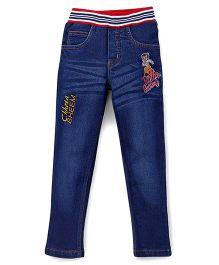 Chhota Bheem Full Length Jeans Chhota Bheem Embroidery - Dark Blue
