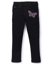 Chhota Bheem Full Length Jeans Studded Butterfly Detail - Black